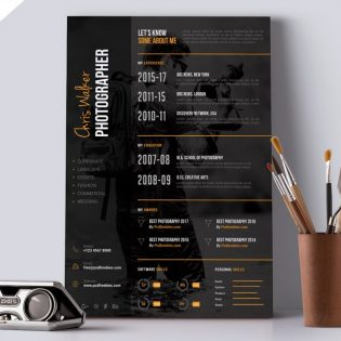 Photographer Resume CV Template PSD