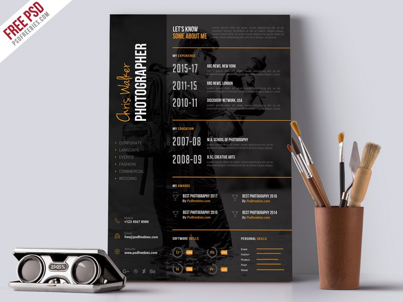 Photographer Resume Cv Template Psd Download  Download Psd