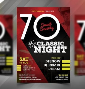 Retro Night Party Flyer Template PSD