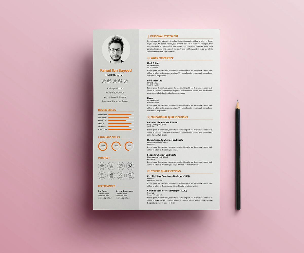 simple cv resume psd template download download psd. Black Bedroom Furniture Sets. Home Design Ideas