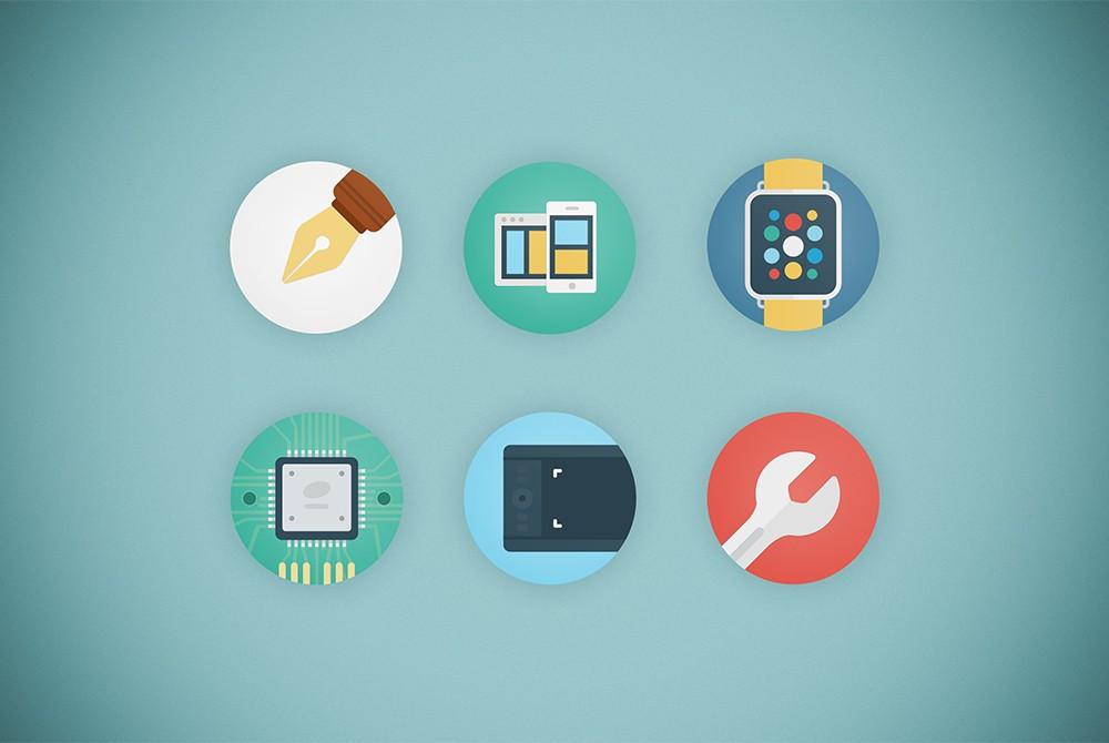 web agency flat icon set psd