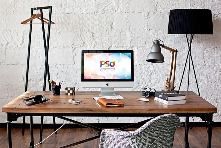 iMac Home Office Mockup PSD