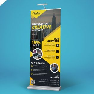 Free Creative Roll Up Banner PSD
