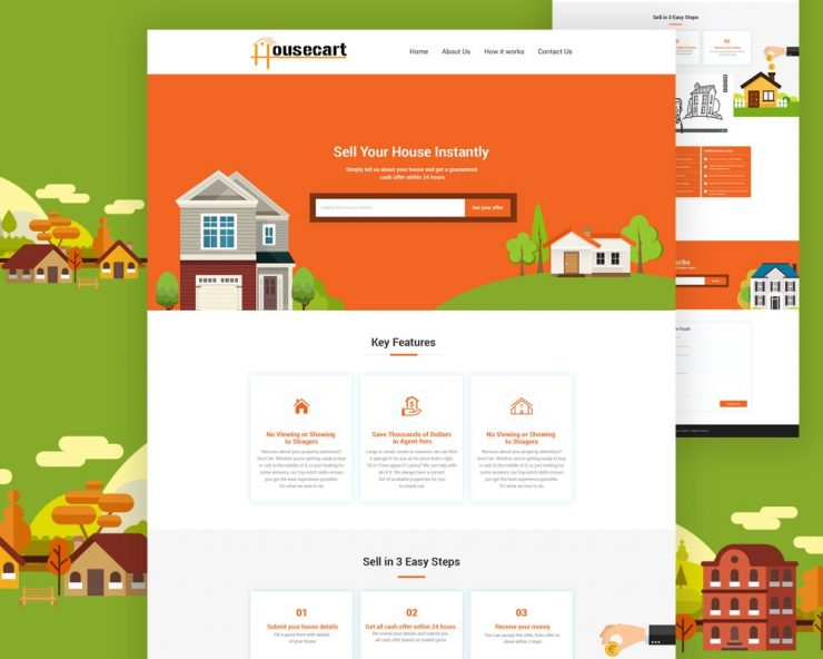 Free Real Estate Website Template PSD