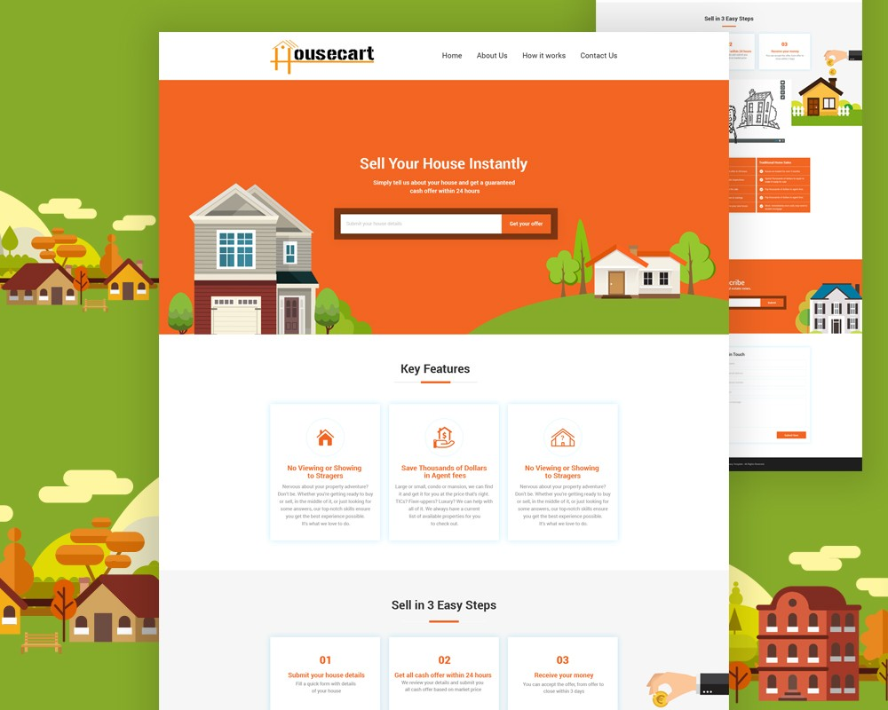 Free real estate website template psd download download psd for Real estate brochure templates psd free download