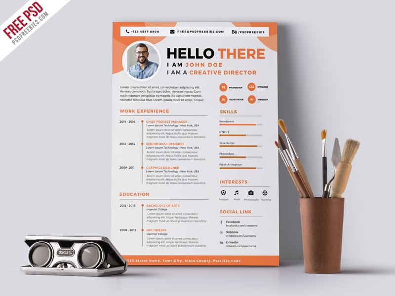 Graphic Designer Cv Resume Template Psd Download  Download Psd