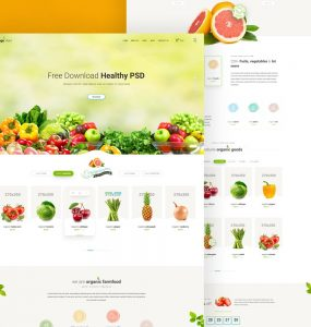 Grocery Store Website Template Free PSD