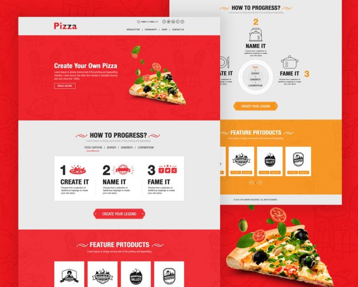 pizza website template free psd download download psd. Black Bedroom Furniture Sets. Home Design Ideas