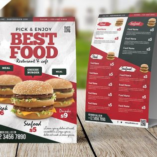 Restaurant Menu Table Tent Card Template PSD