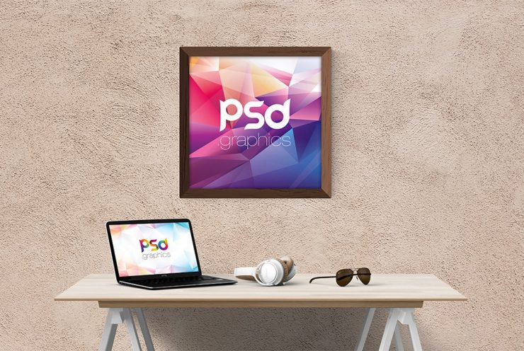 Square Wooden Wall Frame Mockup PSD