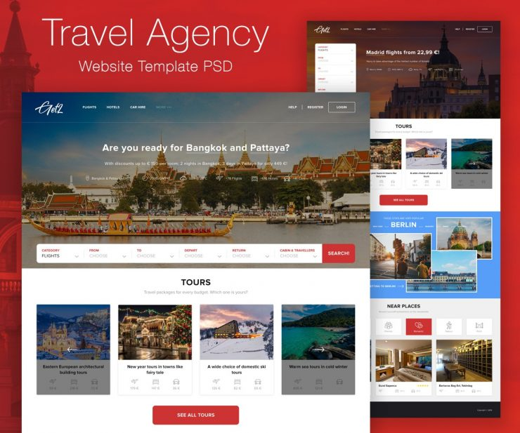Travel Agency Website Template PSD