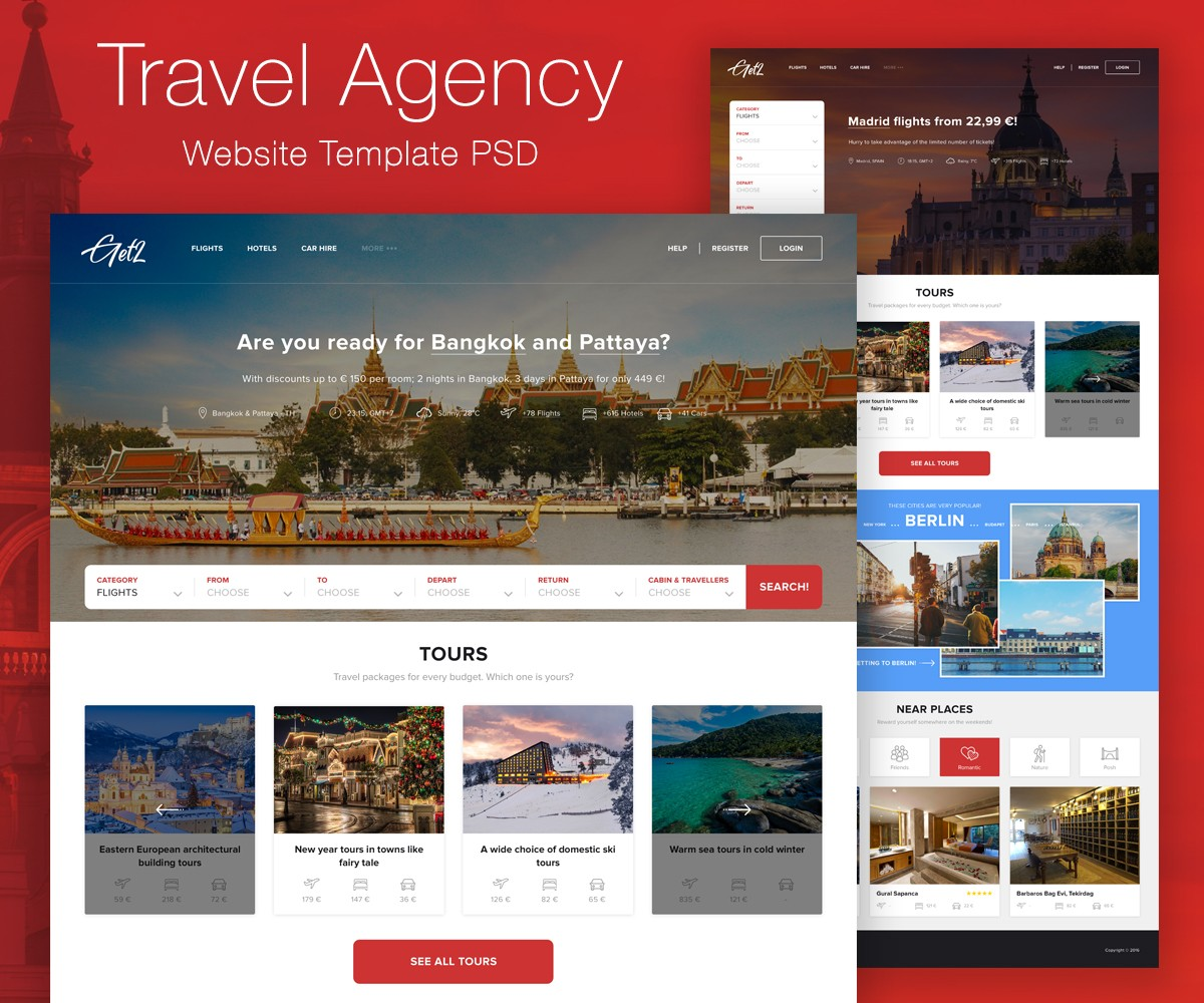 travel agency website template psd download download psd. Black Bedroom Furniture Sets. Home Design Ideas