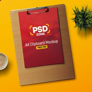 A4 Paper Clipboard Mockup PSD