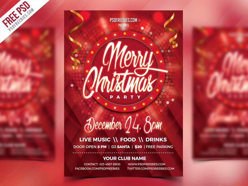 Free Christmas Party Flyer Psd Download Download Psd