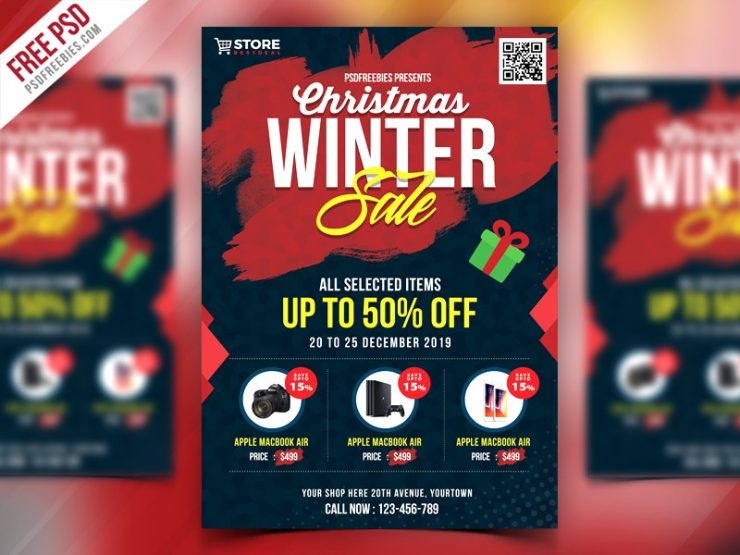 Free Christmas Sale Flyer Template PSD