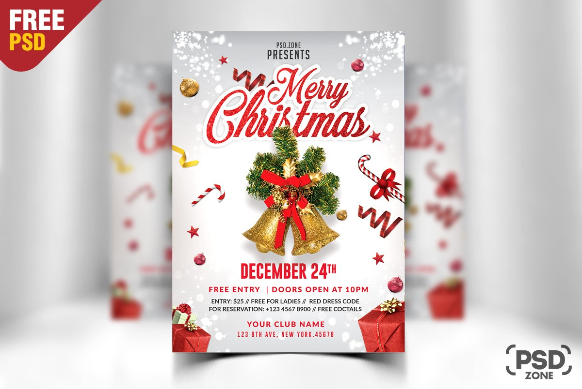 Free Merry Christmas Flyer Template Psd Download Download Psd