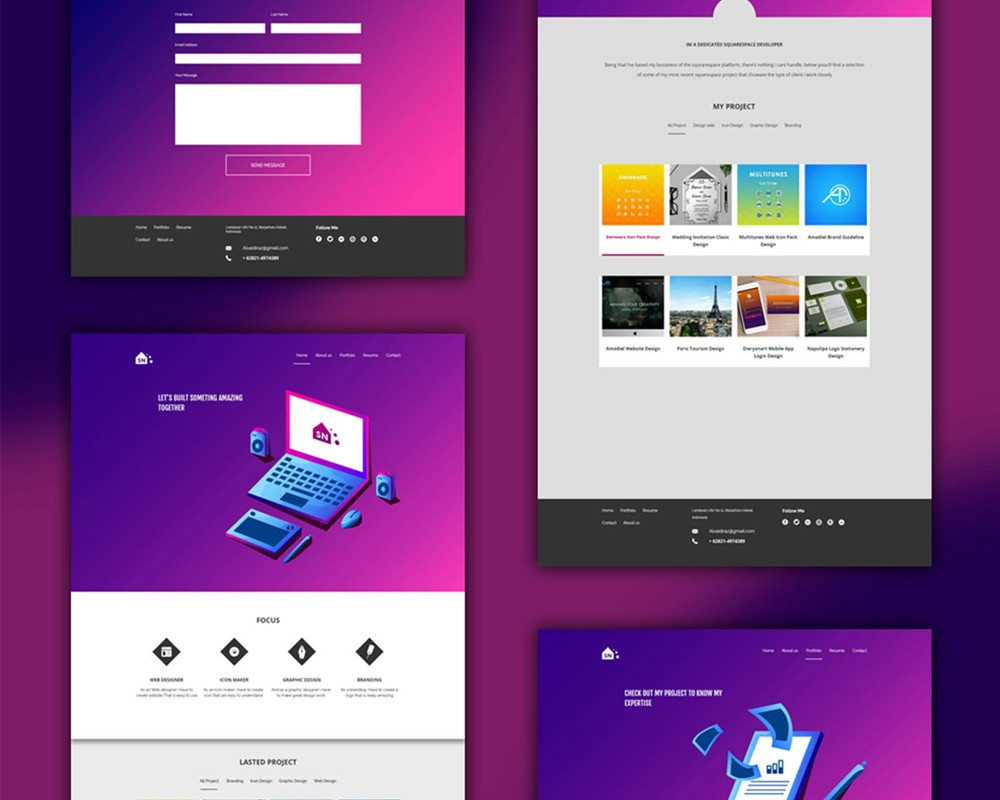 Free portfolio website templates psd download psd for Microsoft office portfolio template