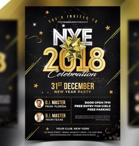 New Year 2018 Flyer Template PSD