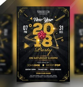 New Year 2018 Party Flyer Template PSD