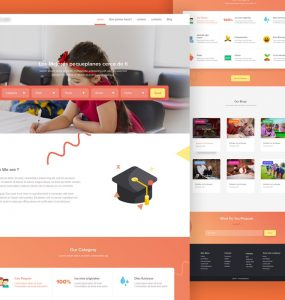 School Website Landing Page Template PSD