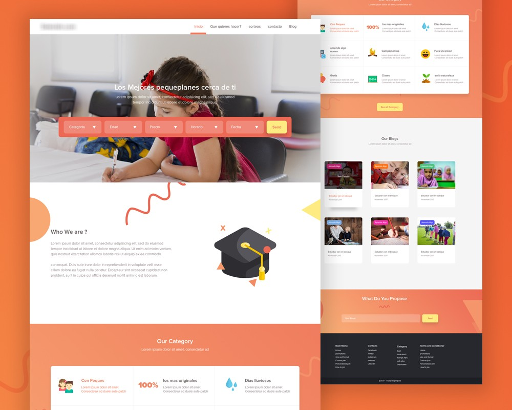 School Website Landing Page Template PSD Download Download PSD - Website landing page templates