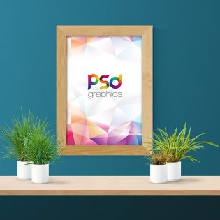 Wooden Wall Frame Mockup PSD