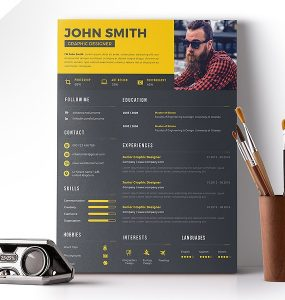 Clean Resume Template Design PSD