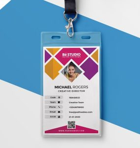 Creative Office ID Card Template PSD Work, Vertical Id Card, University Id  Card,