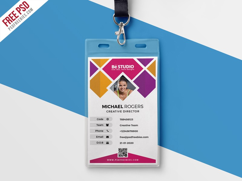 Creative office id card template psd download download psd for Teacher id card template