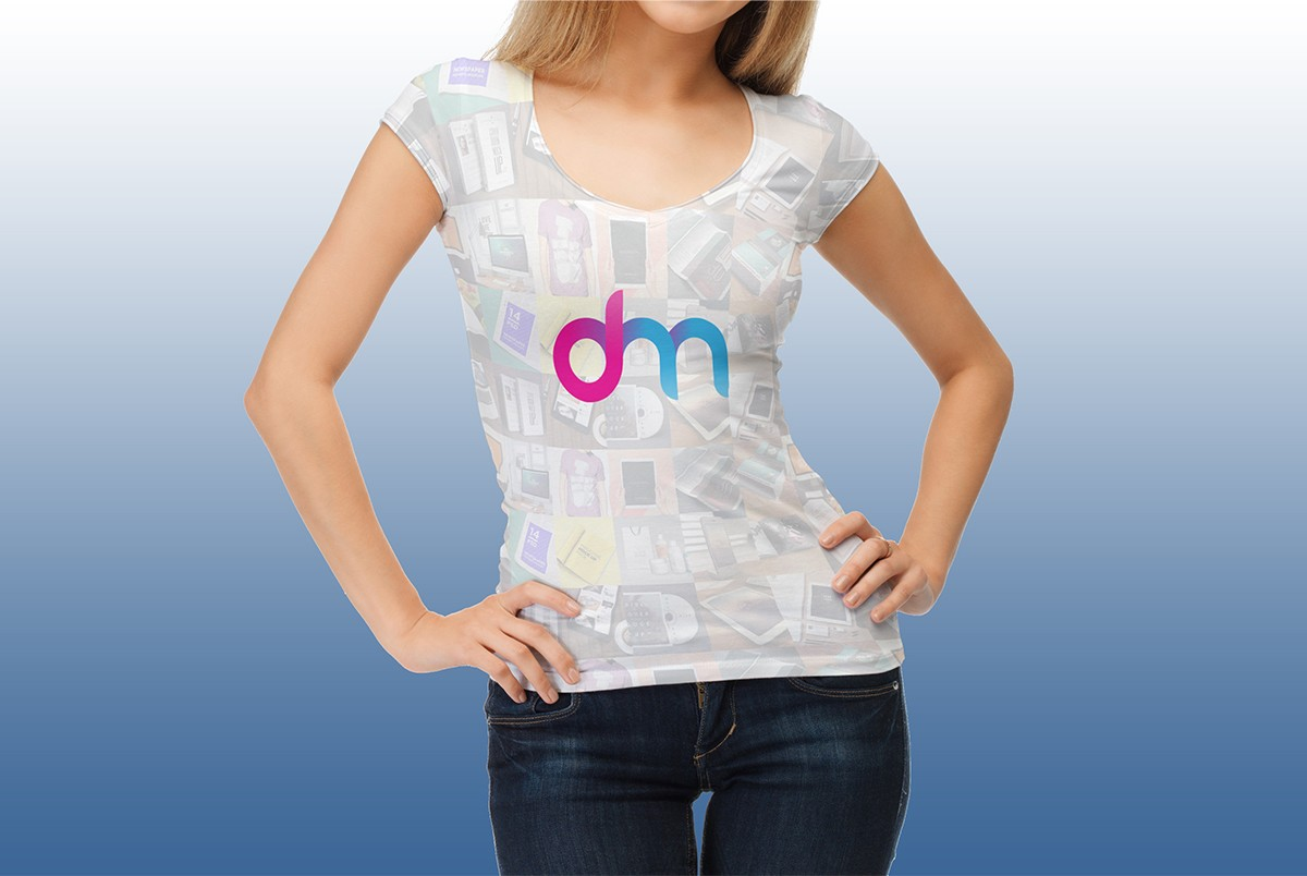 Female t shirt mockup template free psd download for Woman t shirt mockup