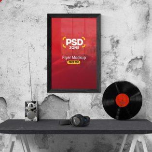 Free Flyer Poster Frame Mockup PSD