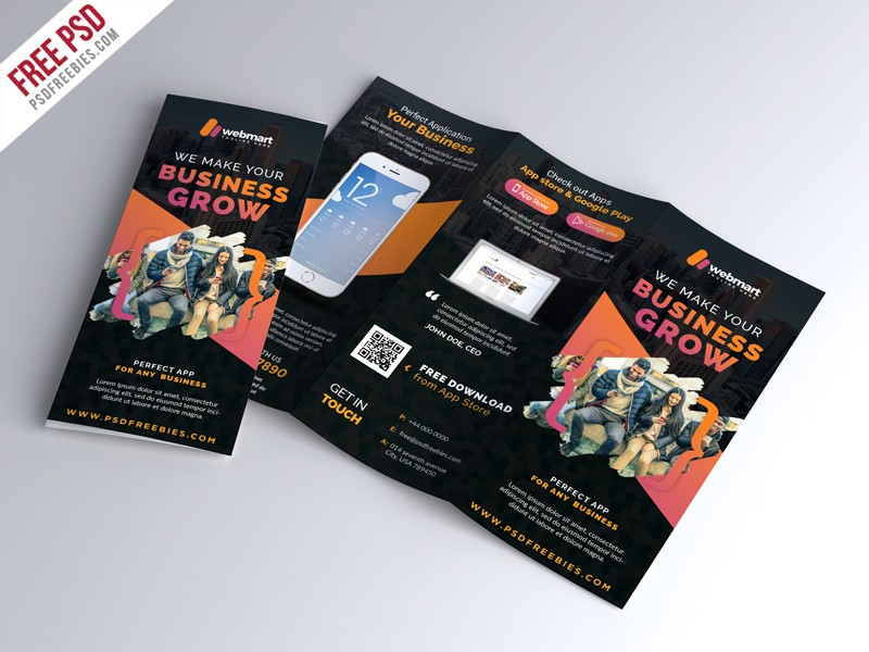 Free Mobile App TriFold Brochure Template PSD Download Download PSD - Trifold brochure template psd