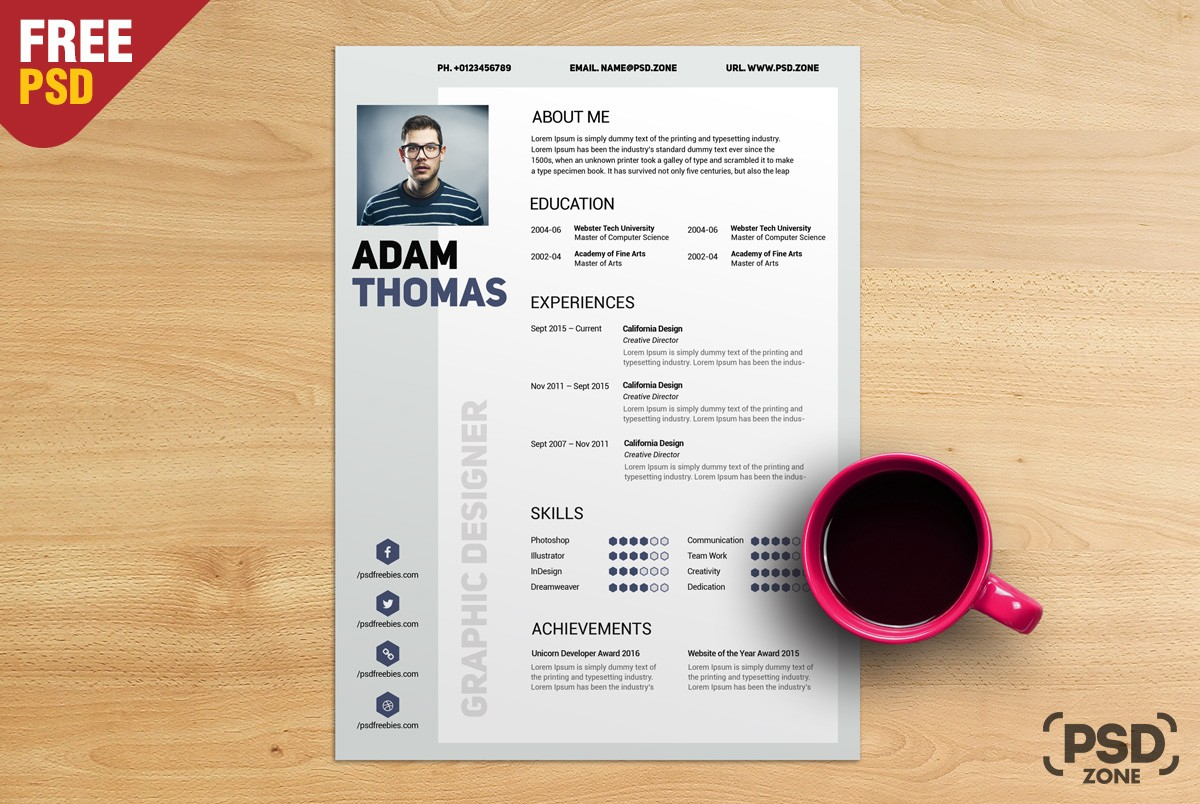 free resume cv template psd download download psd. Black Bedroom Furniture Sets. Home Design Ideas