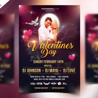 Free Valentines Day Flyer Template PSD