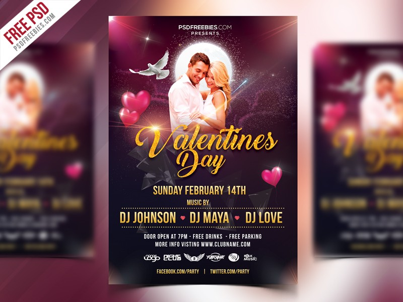 Free Valentines Day Flyer Template Psd Download Download Psd