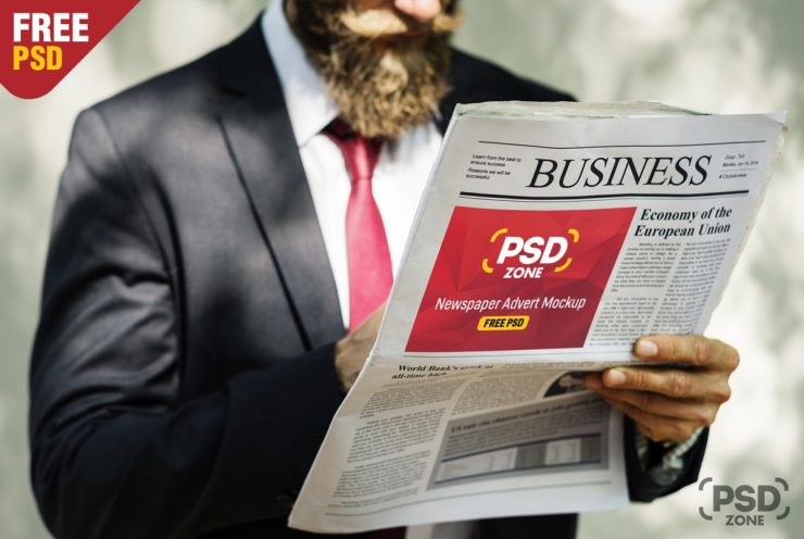 Newspaper Advertisement Mockup PSD