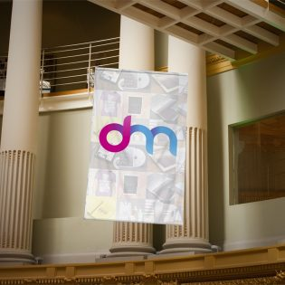 Outdoor Advertising Hanging Banner Mockup PSD