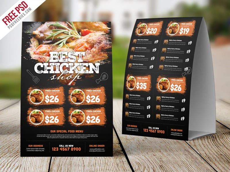 Restaurant Table Tent Food Menu PSD Typographic Texture Card Templates