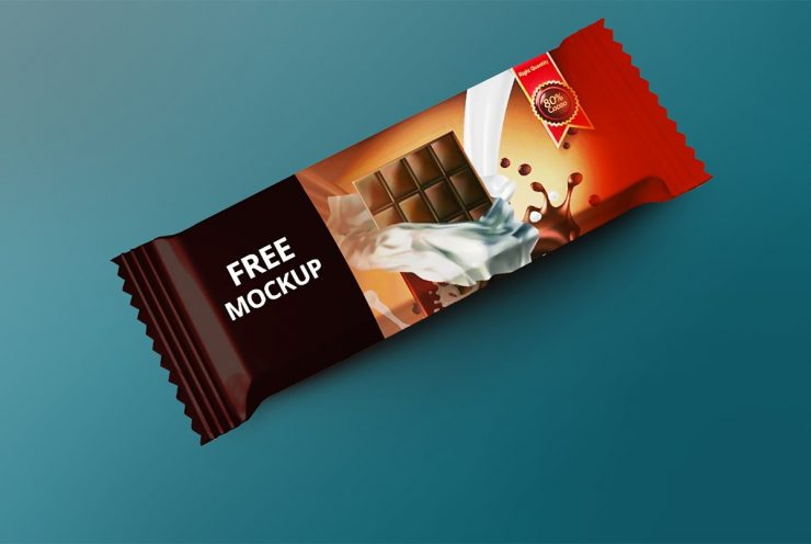 Chocolate Bar Packaging Mockup PSD