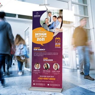 Corporate Roll Up Standee Banner PSD