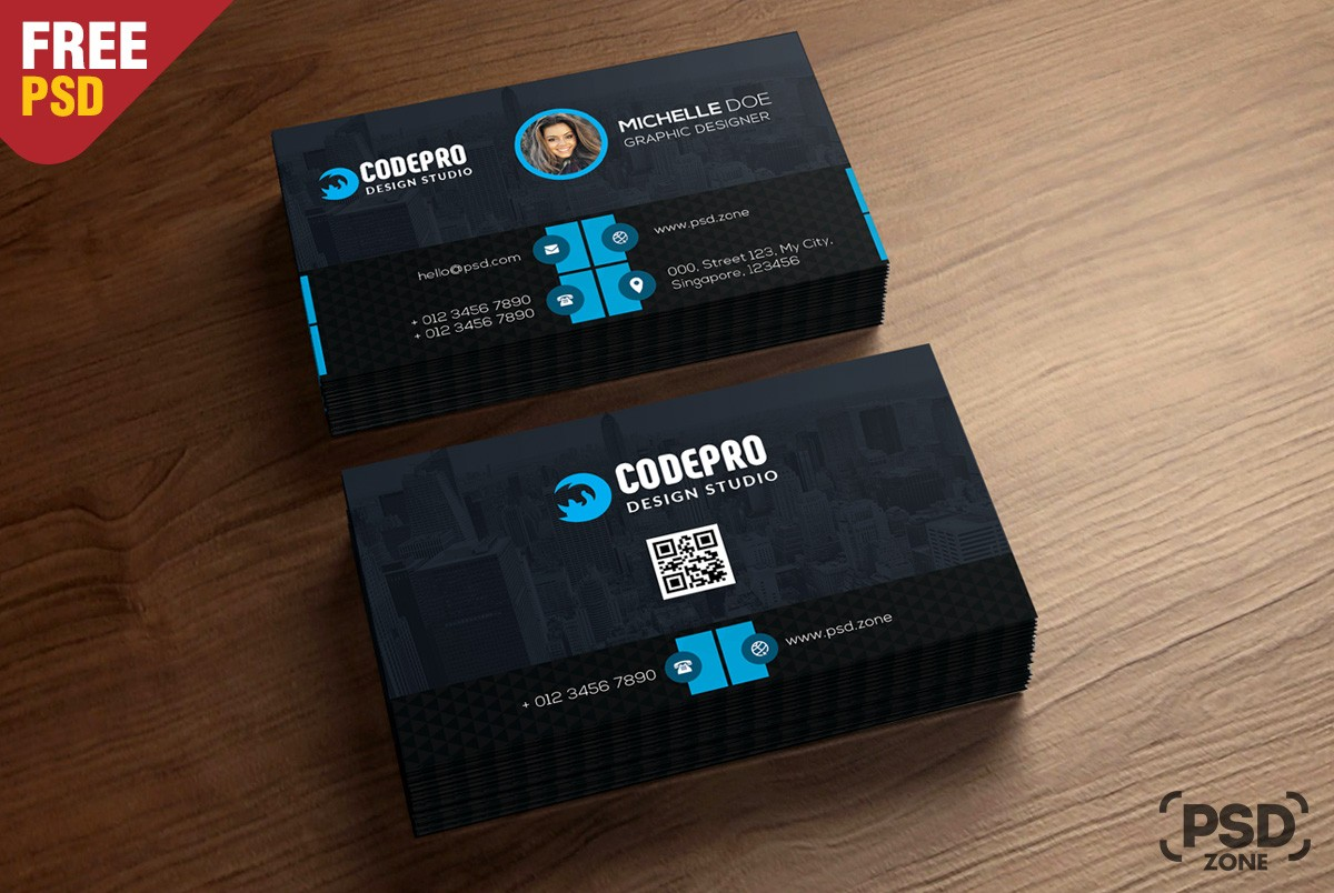 Free Corporate Business Card Template PSD Download PSD - Business cards psd templates