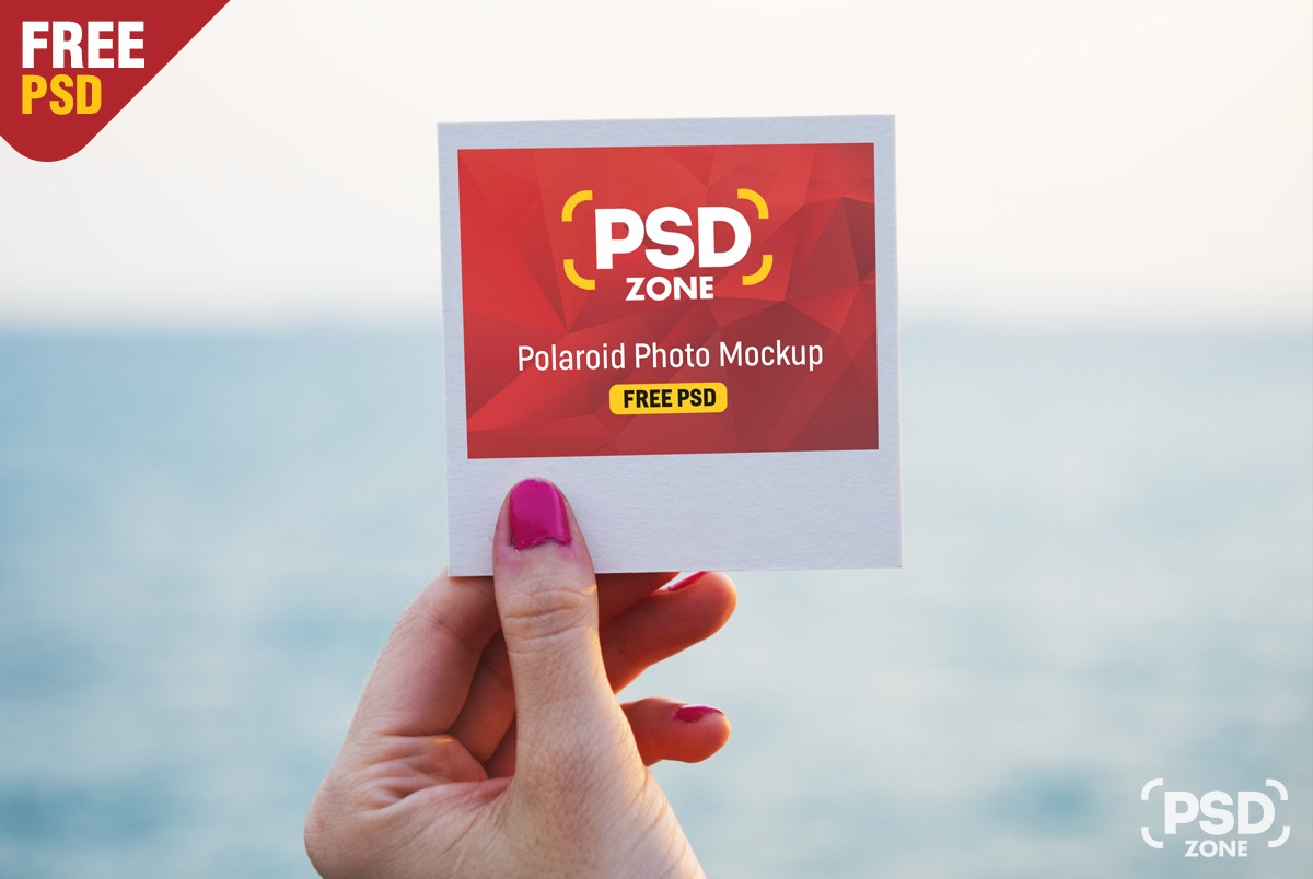 free polaroid photo mockup psd