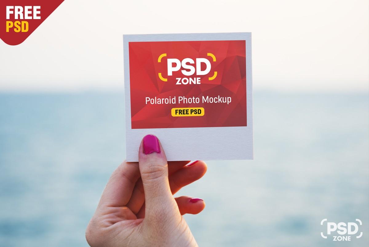 free polaroid photo mockup psd