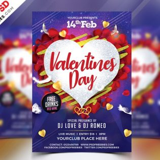 Free Valentines Day Flyer PSD