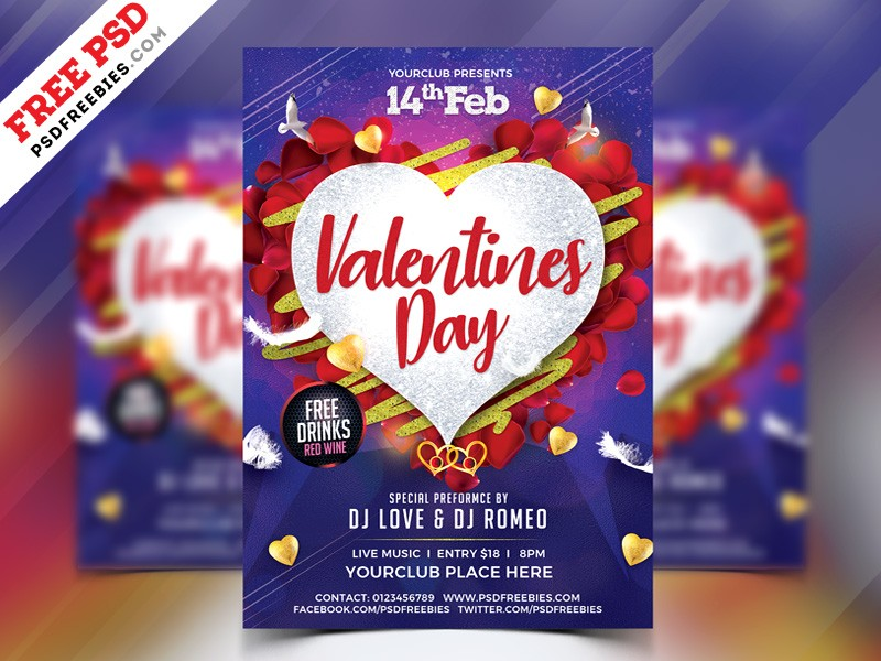 Free Valentines Day Flyer Psd Download Download Psd