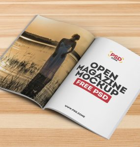 Open Magazine Mockup Template PSD