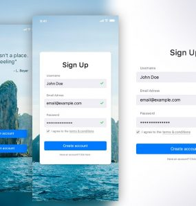 Free Sign Up UI Kit PSD