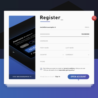 User Registration Form Template PSD