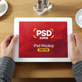 iPad in Hand Mockup PSD
