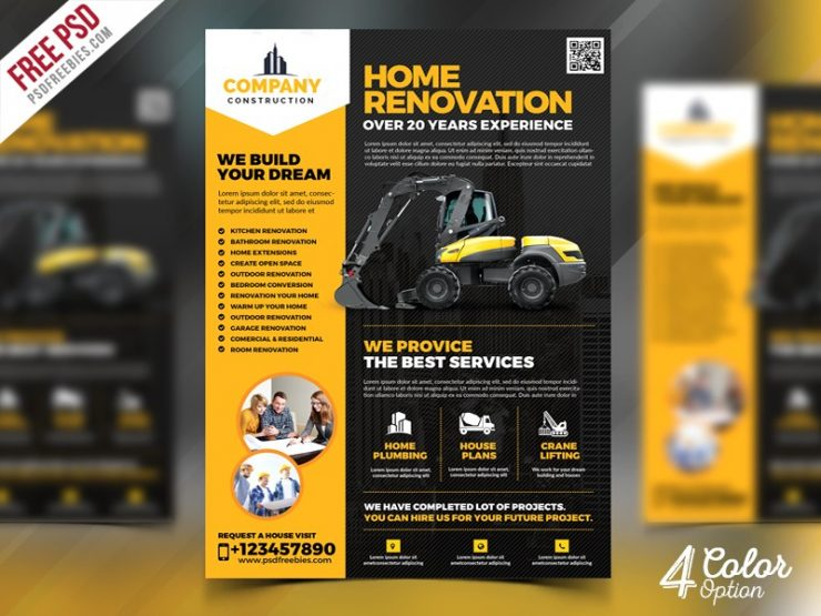 construction company flyer template psd